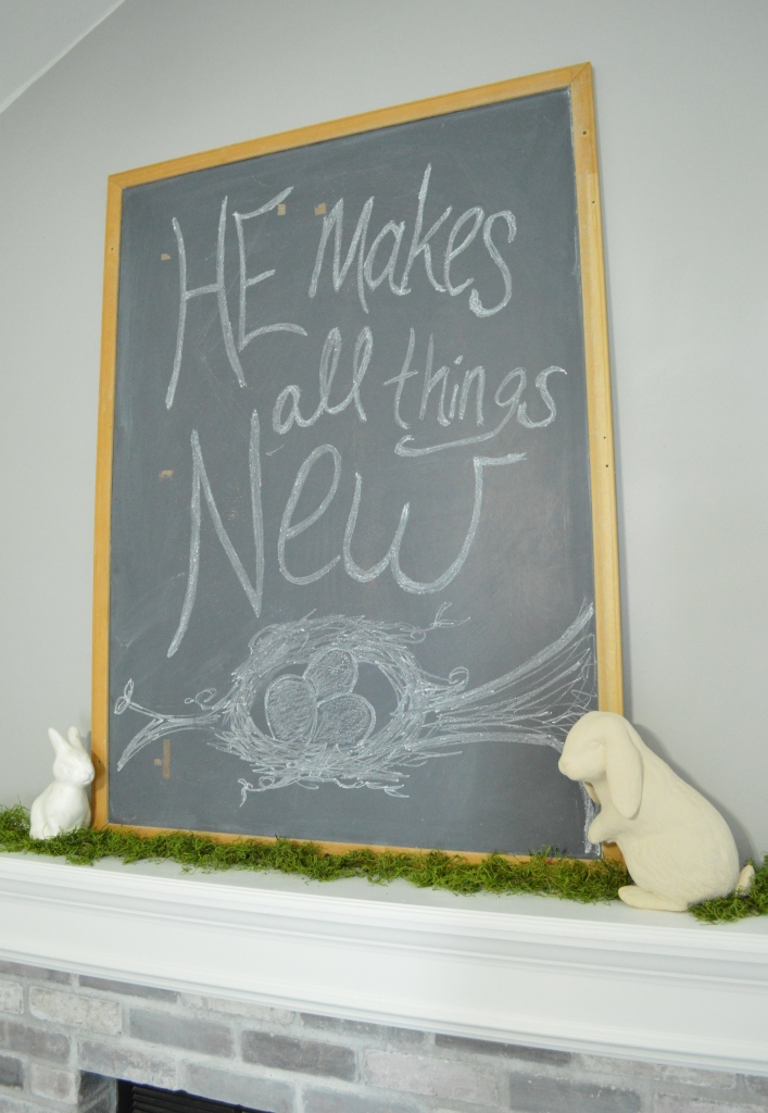 2016 Easter Decor Living Room Chalkboard on Mantle