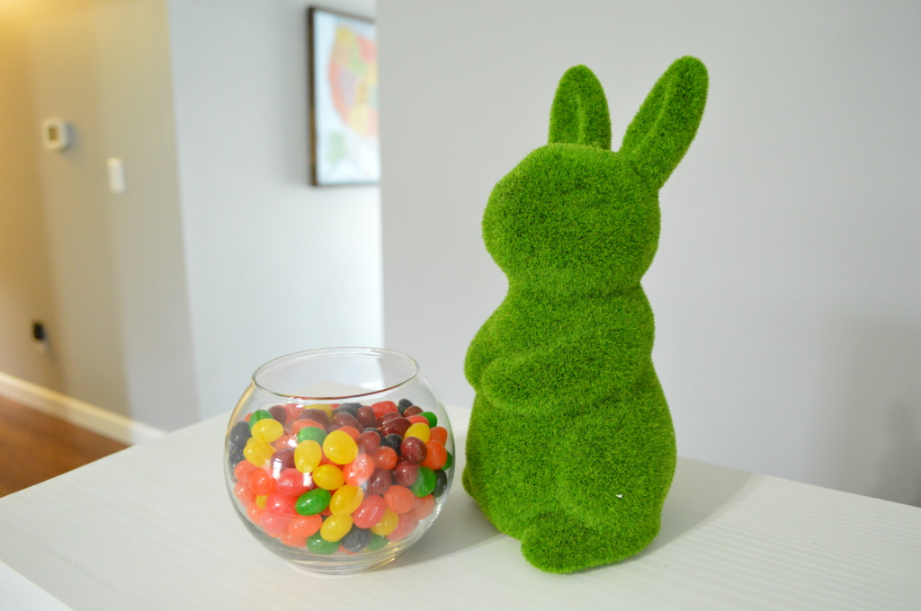 2016 Easter Decor Living Room Jelly Beans Grass Bunny