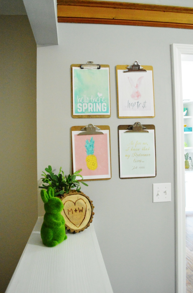 Clipboard gallery wall spring free printables 1
