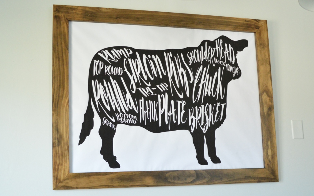 DIY Cow Beef Butcher Art Print Diagram