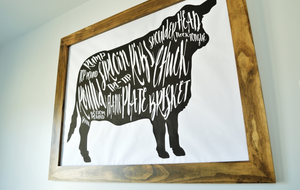 DIY Cow Beef Butcher Art Print Diagram 4