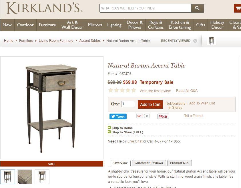 bedside table kirklands 2