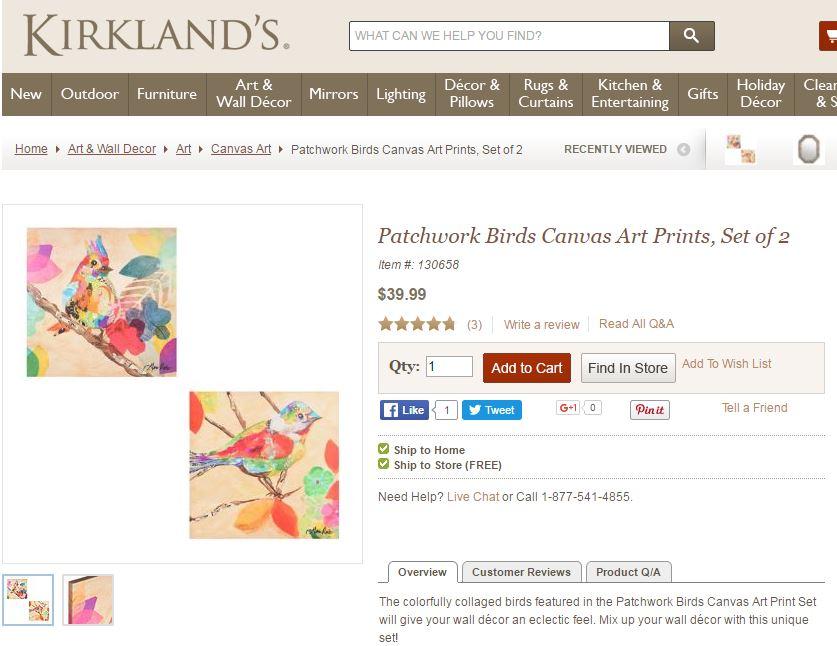 bird wall art kirklands