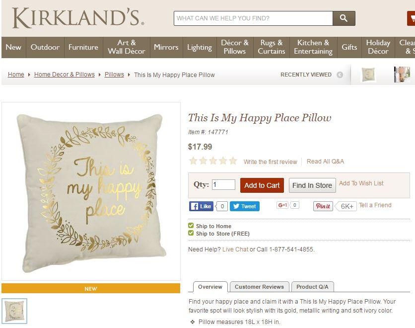 gold happy place pillow kirklands
