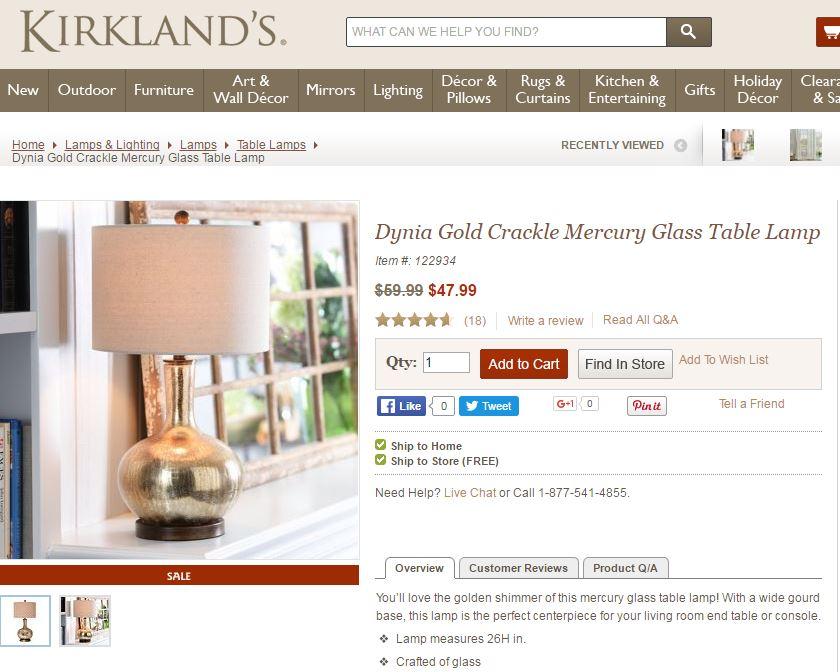gold lamp kirklands