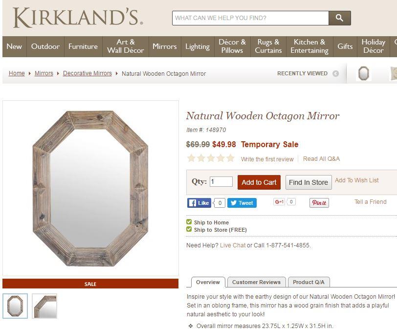 wooden mirror kirklands