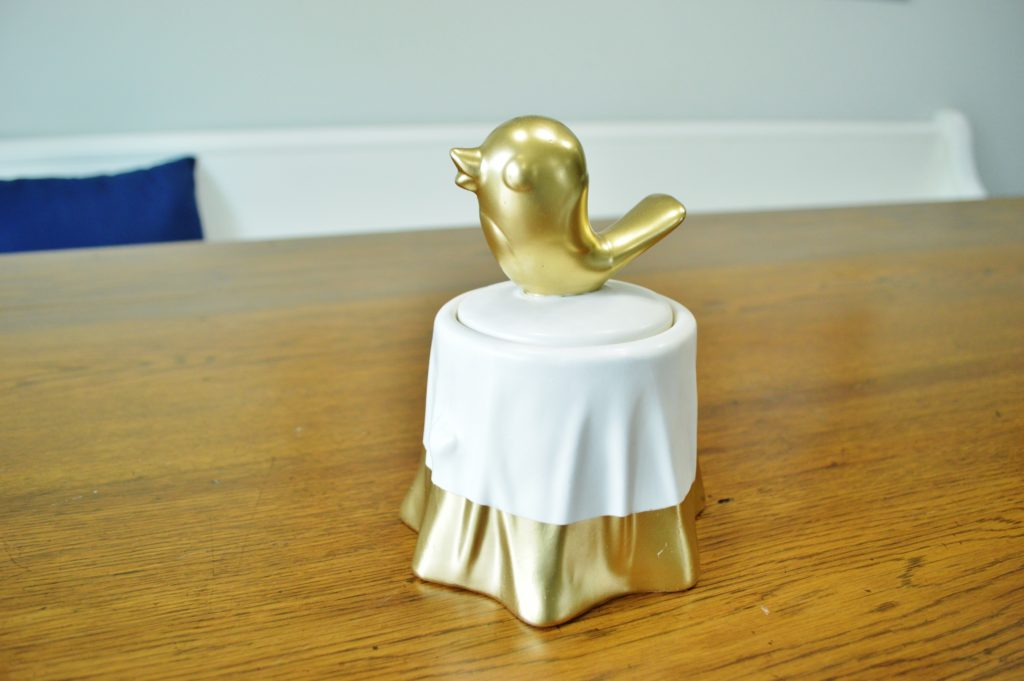 DIY Gold Accented Candy Dish with Bird on Top