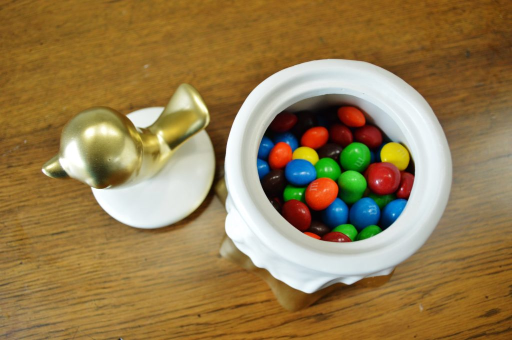 DIY Gold Accented Candy Dish with Bird on Top 2