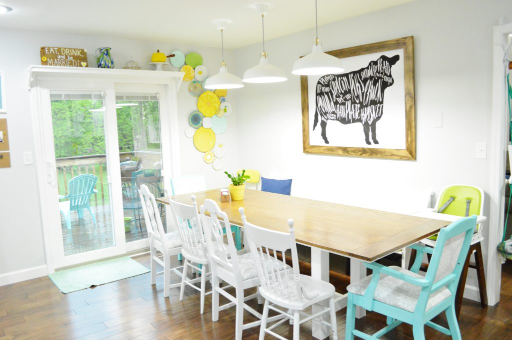 Finished White Kitchen Renovation with DIY Farmhouse Table