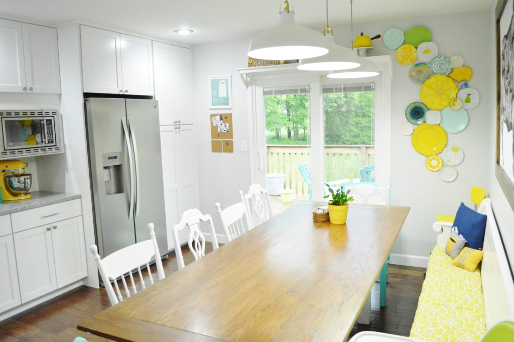 Finished White Kitchen Renovation with DIY Farmhouse Table 2