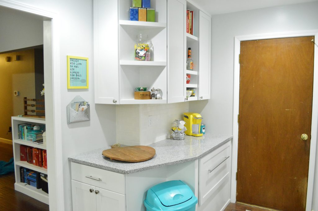 Finished White Kitchen Renovation with DIY custom cabinetry nook 2