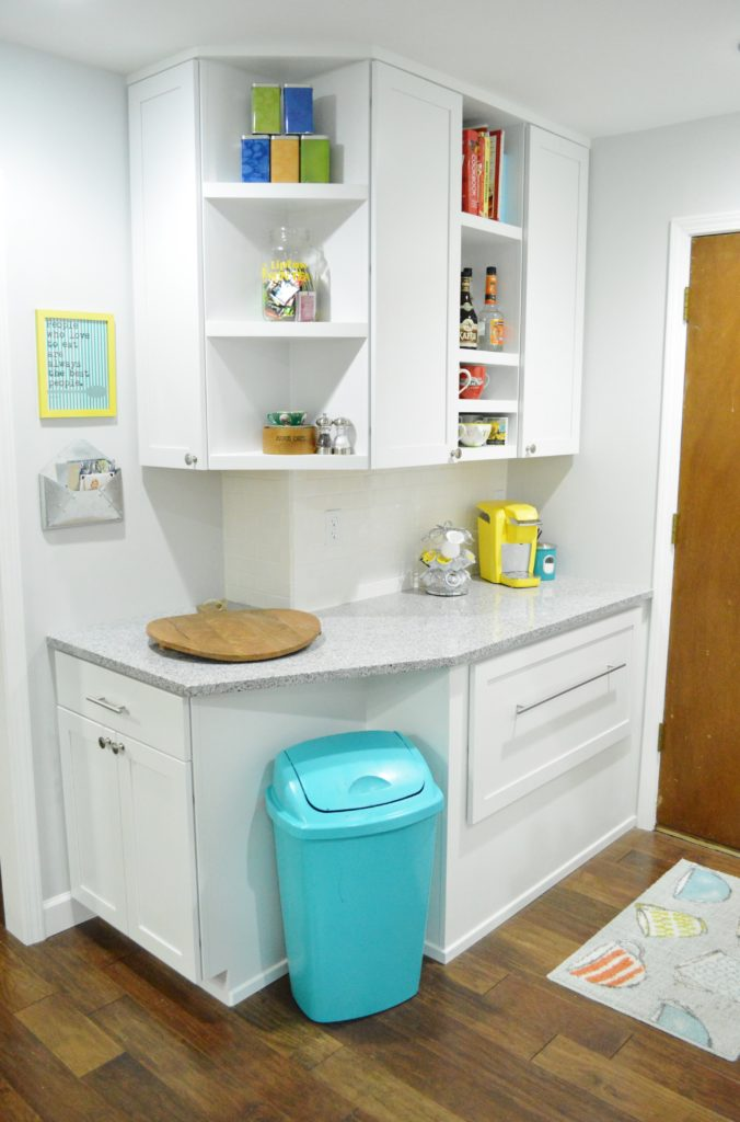 Finished White Kitchen Renovation with DIY custom cabinetry nook