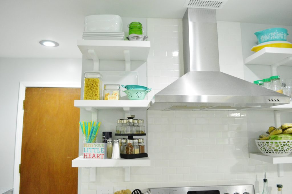Finished White Kitchen Renovation with DIY custom open shelves 3