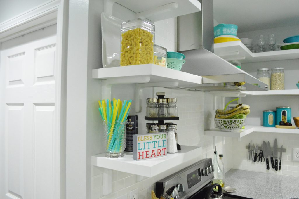 Finished White Kitchen Renovation with DIY custom open shelves 4