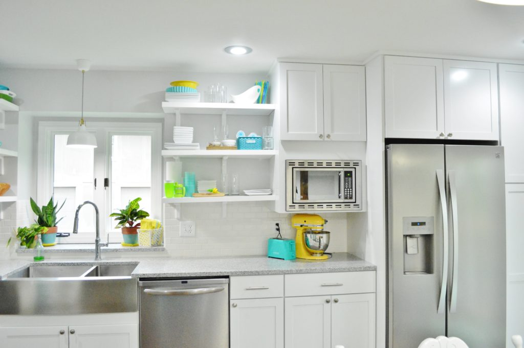Finished White Kitchen Renovation with custom DIY pantry and built in fridge and microwave 2