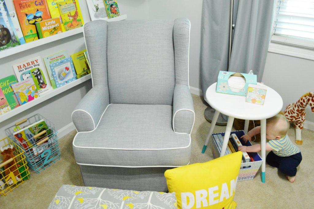 New modern gray nursery glider from target