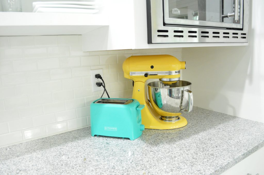 White Kitchen Gray Granite Yellow KitchenAid Turquoise Blue Toaster