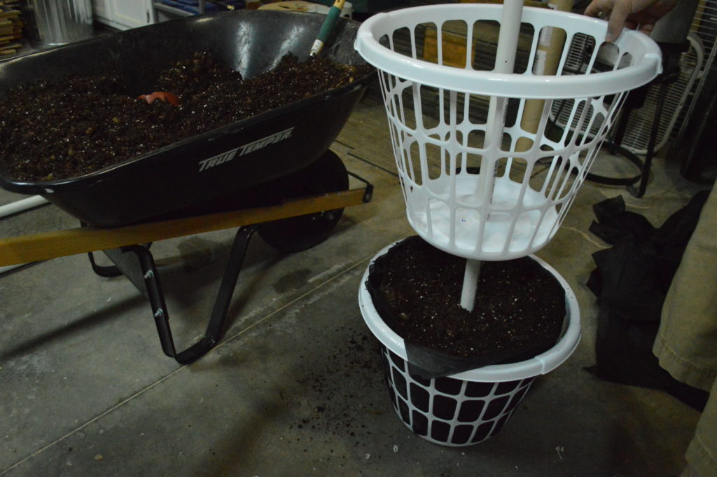 strawberry planter tower from laundry baskets