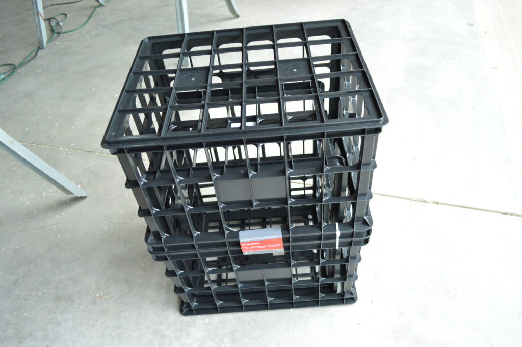 strawberry planter tower with plastic crates