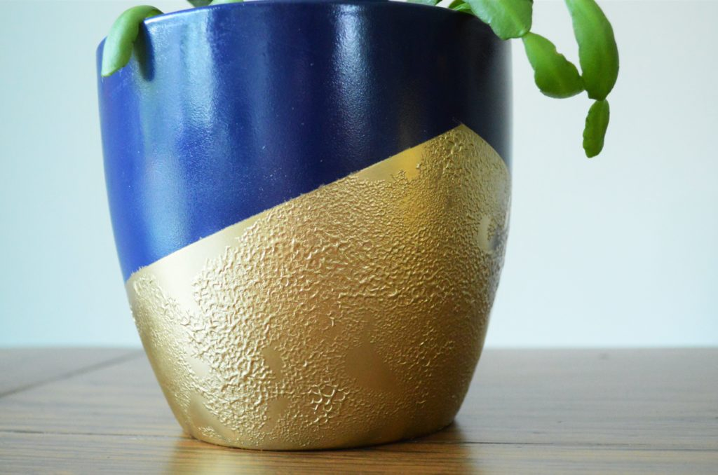 Bubbled Textured  Gold Spray Paint Finish on Flower Pot