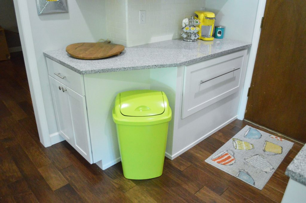 Neon green spray painted kitchen nook trash can 2