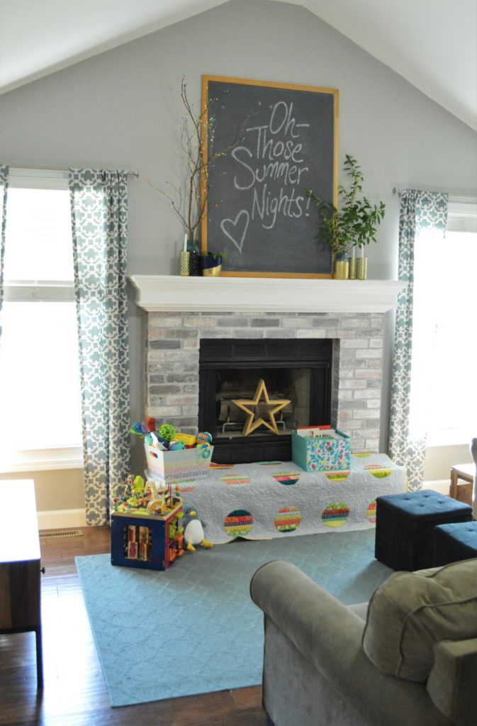 Summer chalkboard quote with Mantle Decor