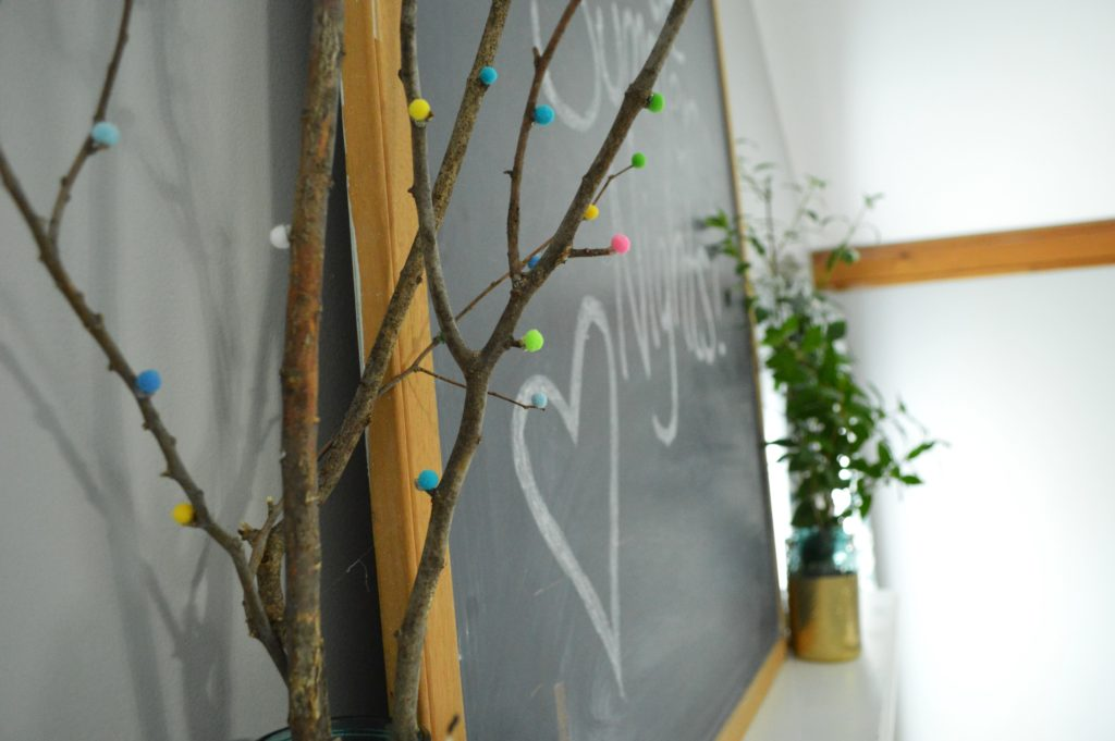 Summer chalkboard quote with Mantle Decor with DIY Pom Pom Tree