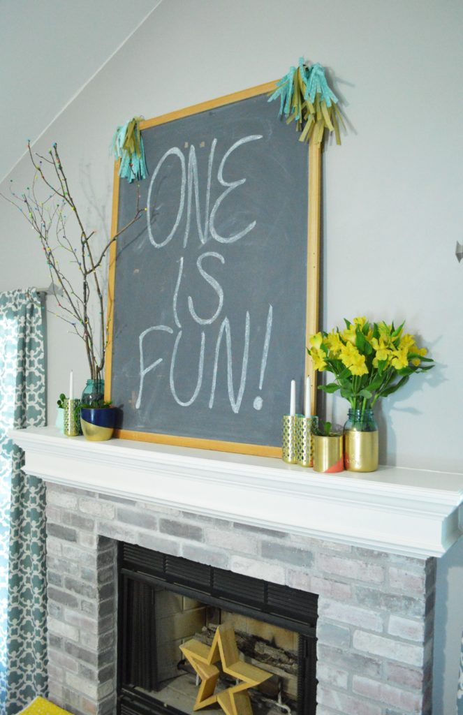 Simple blue and gold first birthday party decoration chalkboard