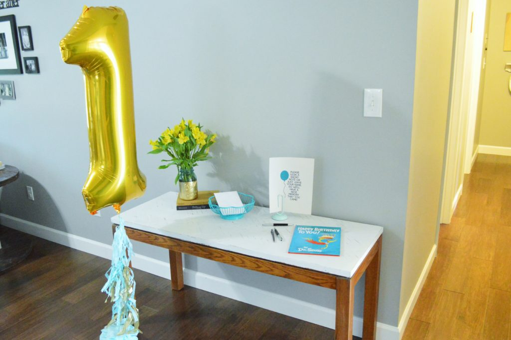 Simple blue and gold first birthday party decoration guest book
