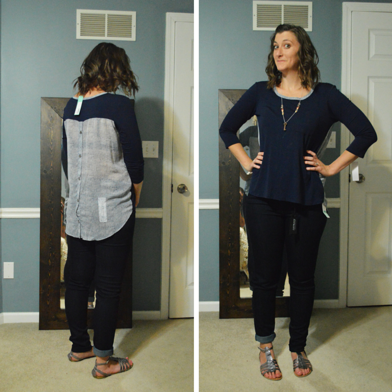 Stitch Fix Review Loveappella Mani Button Back Mixed Media Knit Top