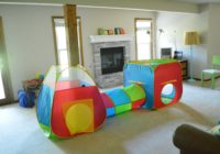 Basement Room Picked Up with Pop Up Play Tent