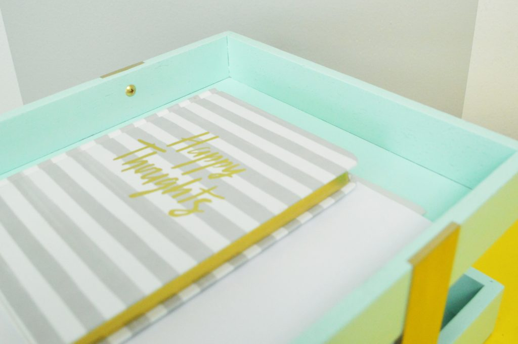 Thrifted Turquoise and Gold Stacked DIY Desk Organizer ReMake After