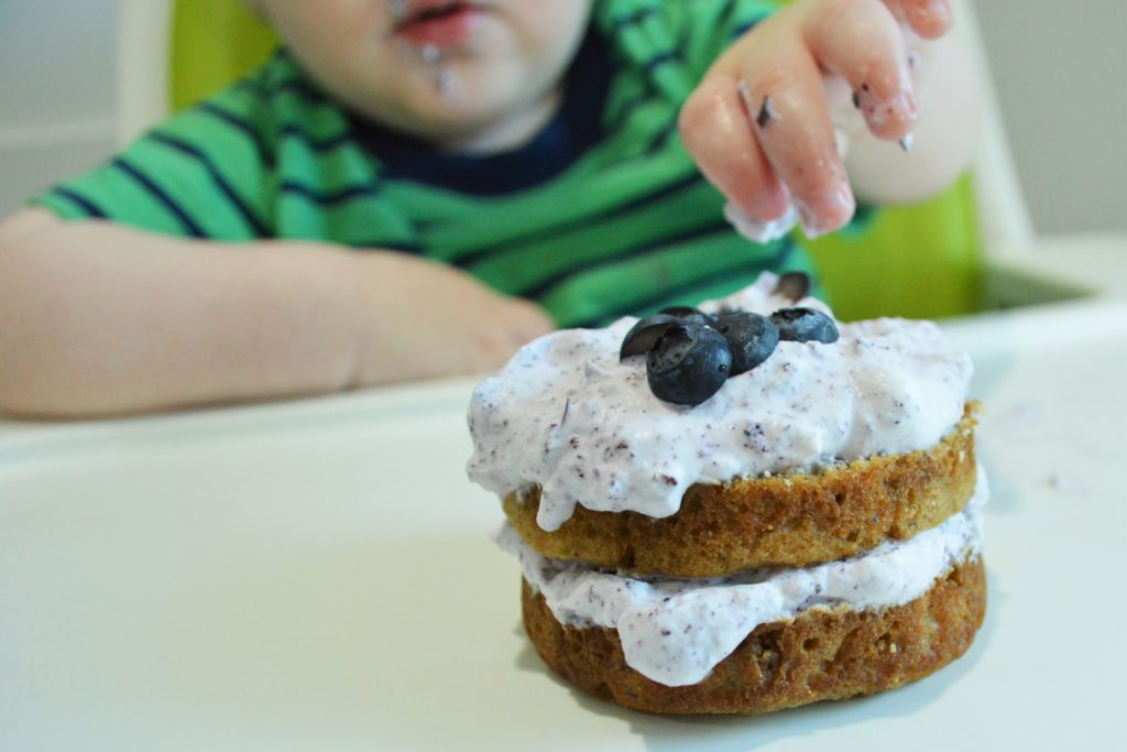 Will first birthday blueberry smash cake