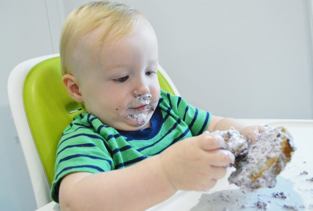 Will first birthday blueberry smash cake messy