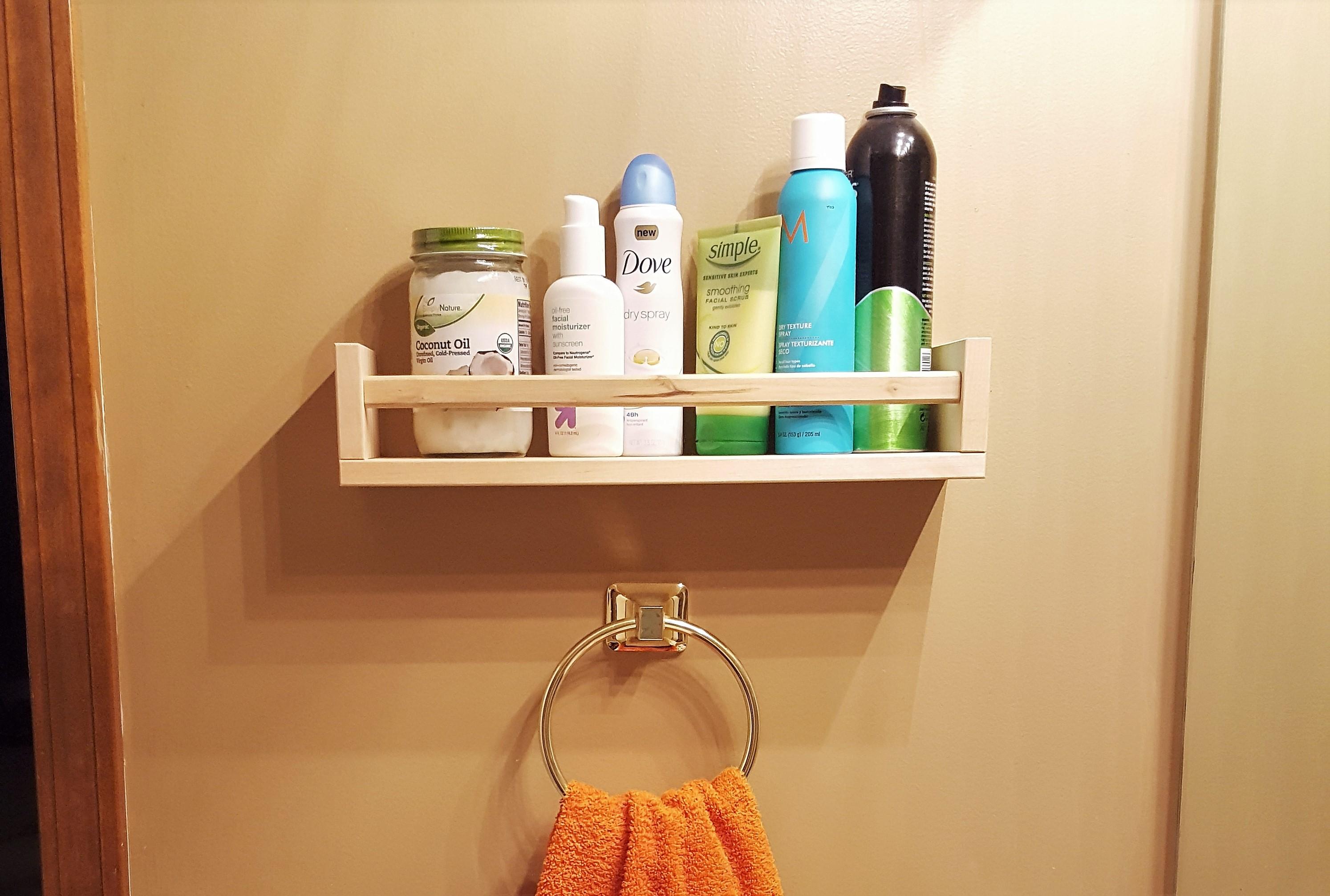A Small Bathroom Shelf - Ikea Spice Rack Hack - Loving Here