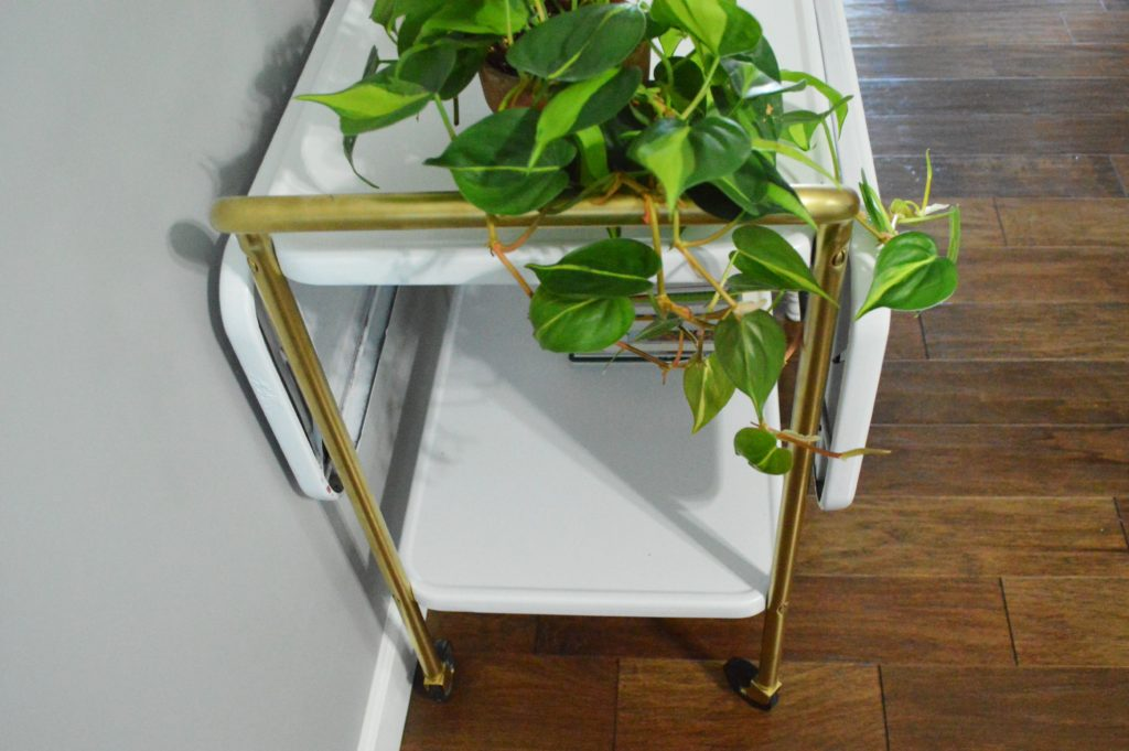 metal-rolling-cart-makeover-after-painted-white-and-gold-plant-in-living-room