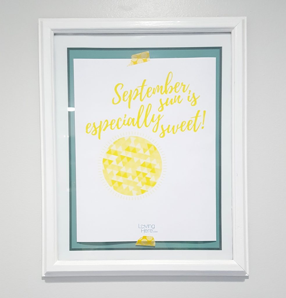 September sun free fall printable taped on kitchen frame2