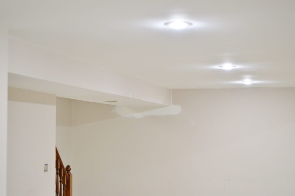 basement ceiling painted repaired