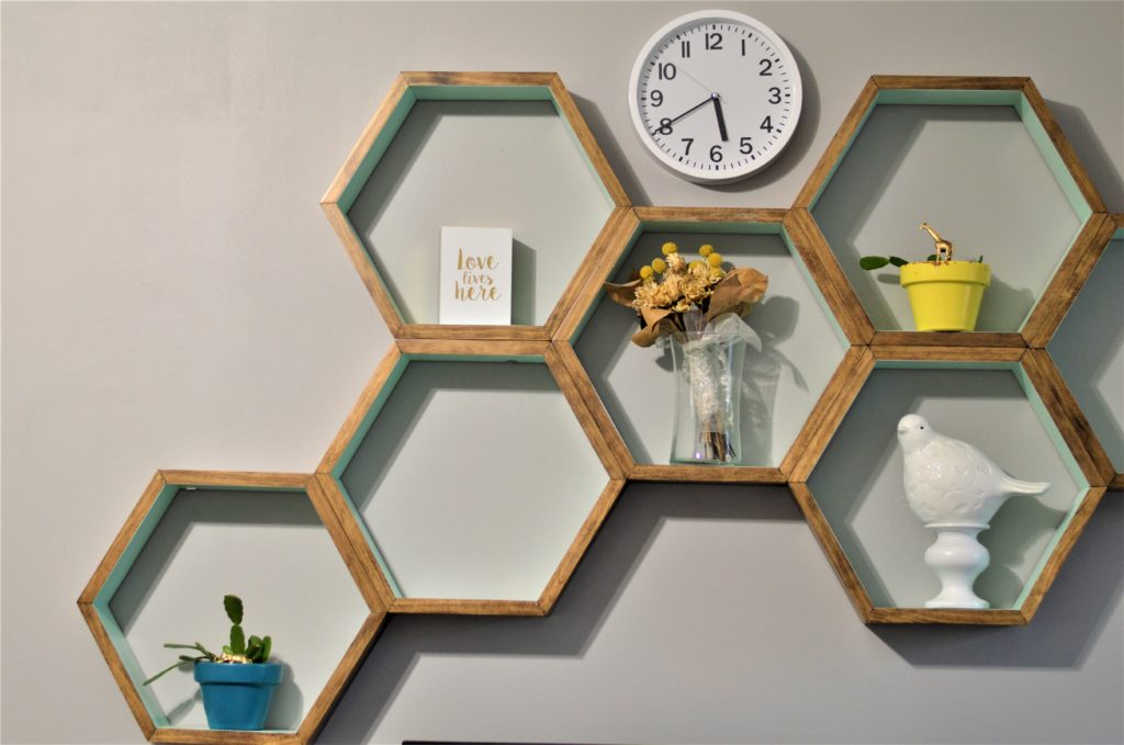 Mini Plant Picks in Living Room Honeycomb Shelves