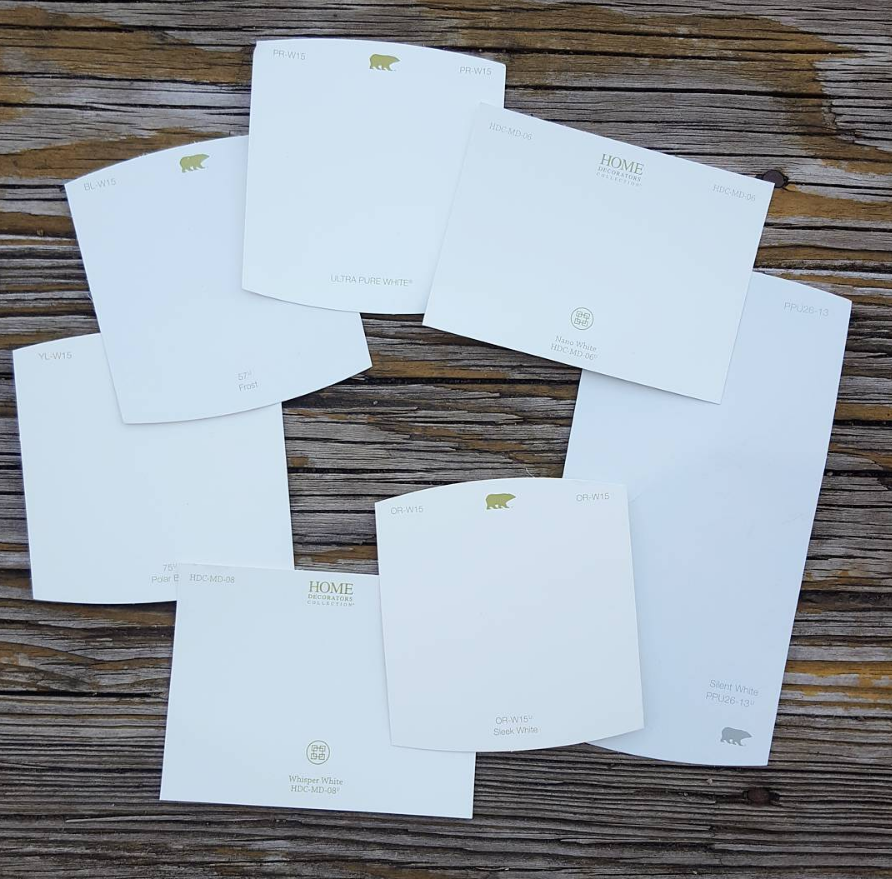 White paint swatches