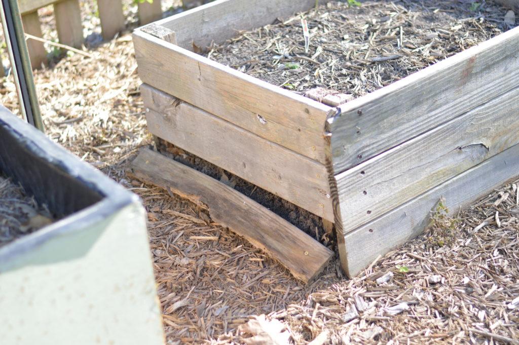 Damaged Raised Pallet Garden Beds April 17