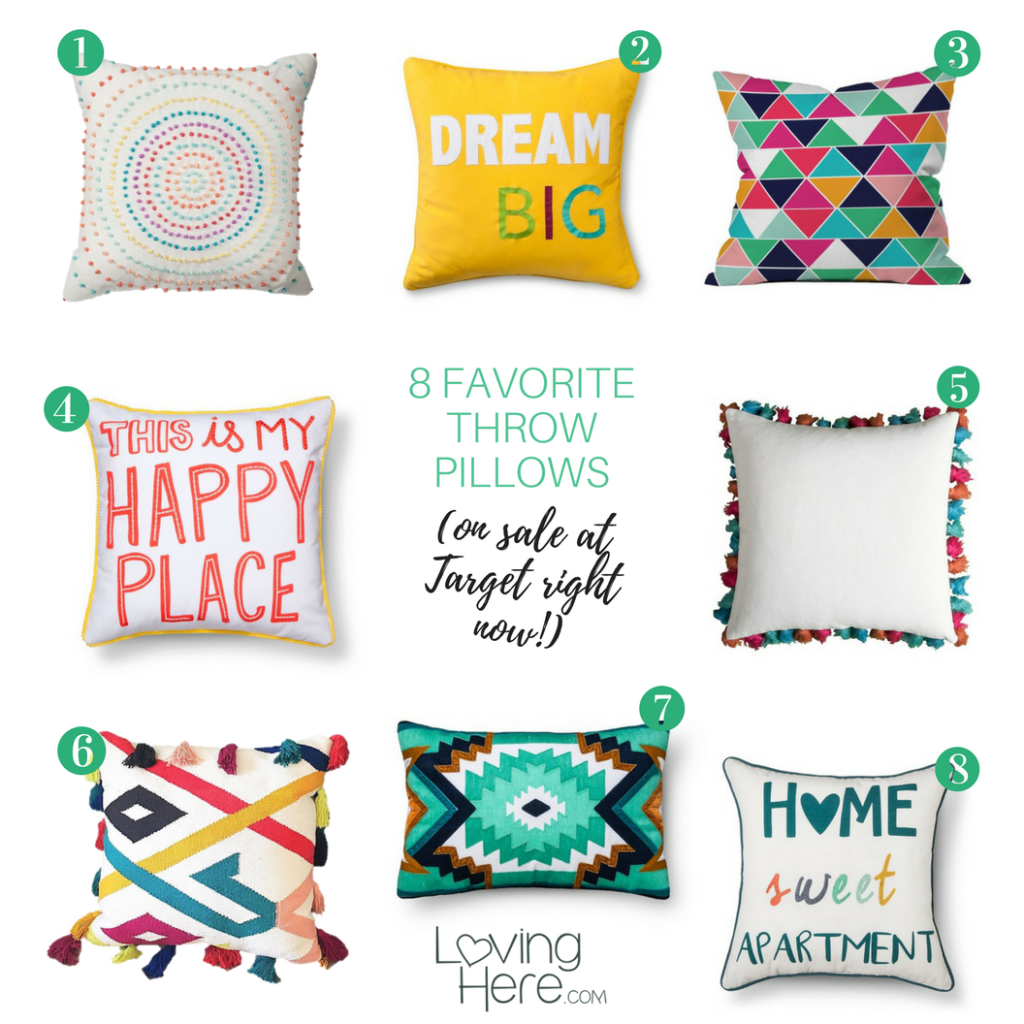 bright throw pillows