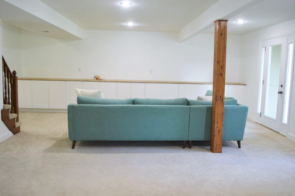 Basement Family Room Aqua Sectional