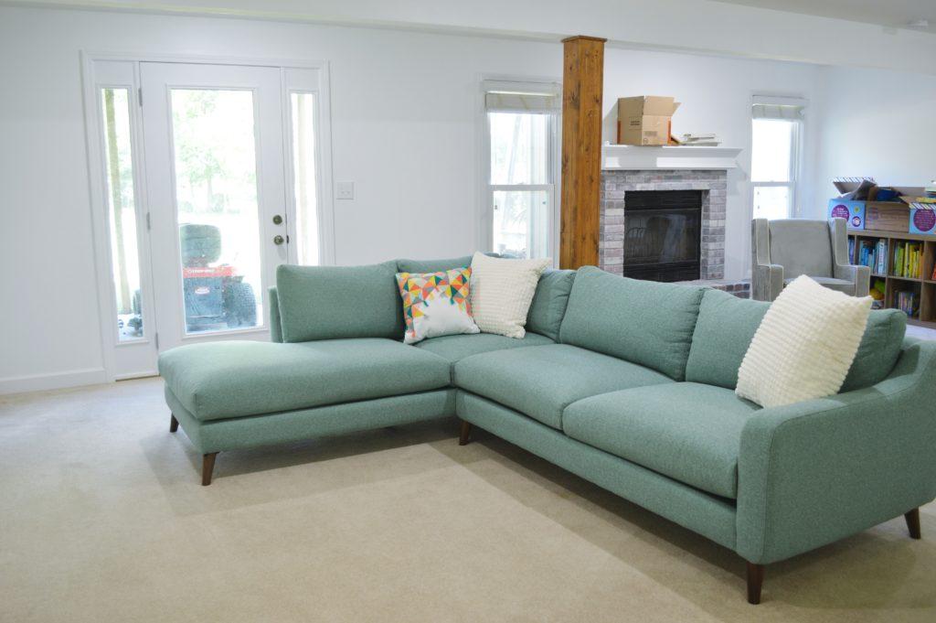 Basement Family Room Aqua Sectional 2