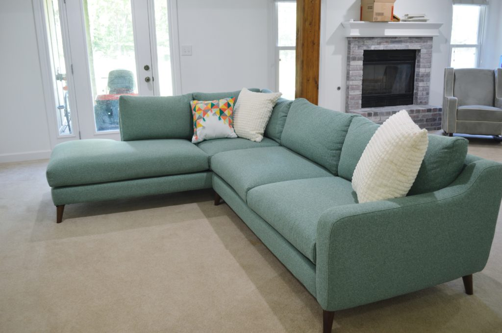 Basement Family Room Aqua Sectional 3