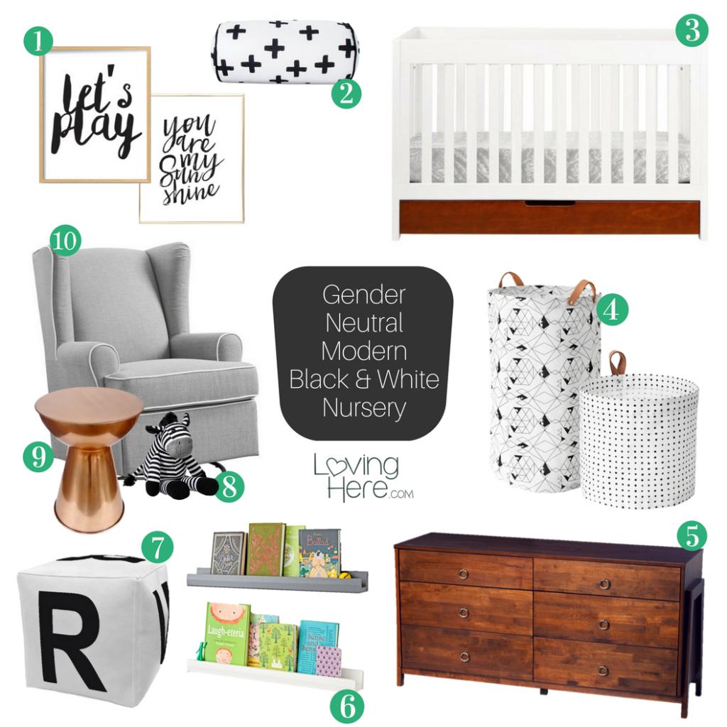gender neutral modern black and white nursery mood board