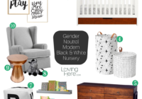 gender neutral modern black and white nursery mood board
