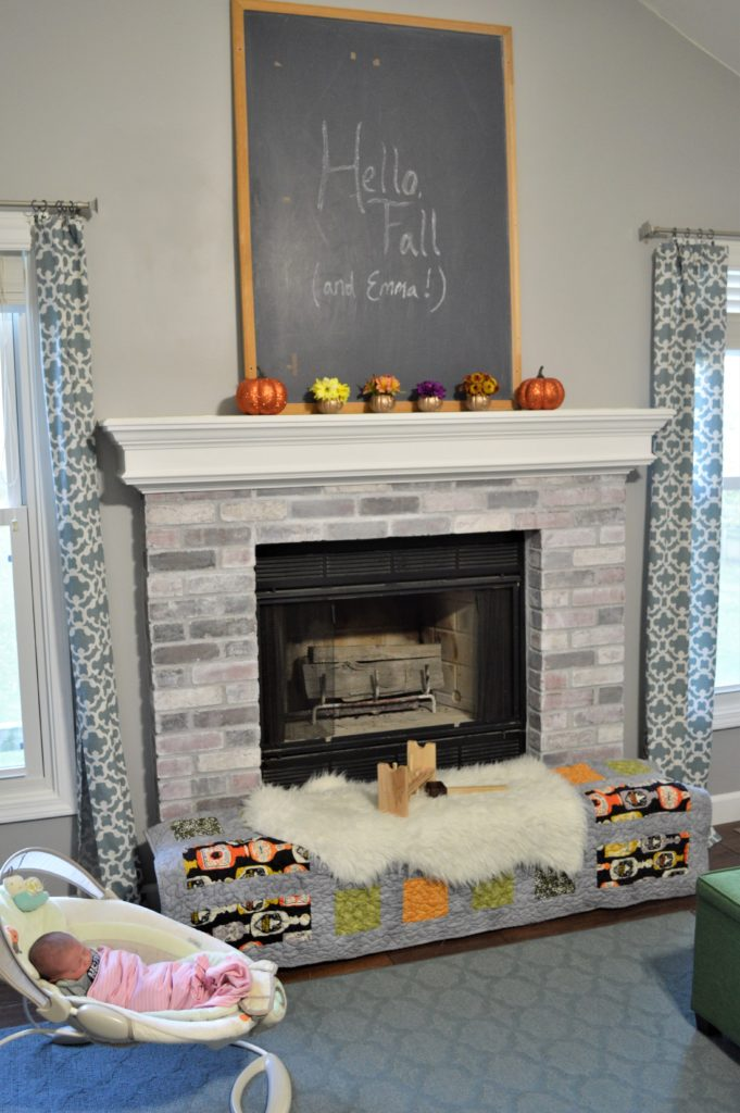 simple halloween mantle and fireplace decor