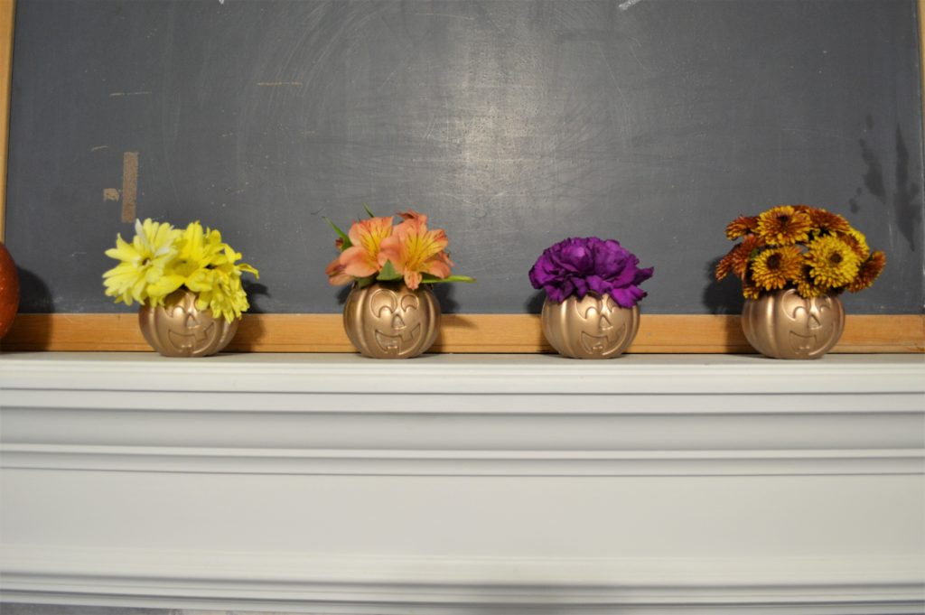 simple halloween mantle diy gold pumpkin vases