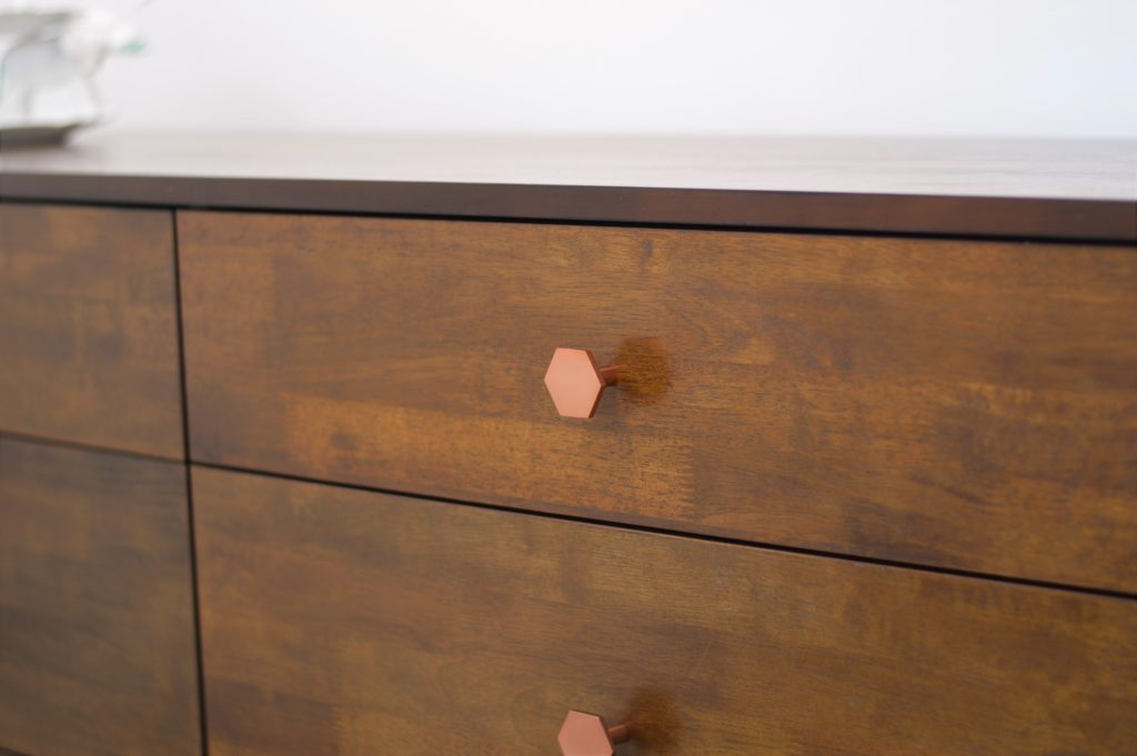 nursery dresser copper hardware